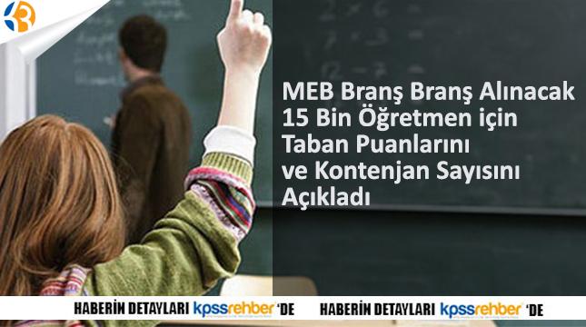 MEB Branş Branş Alınacak 15 Bin Öğretmen için Taban Puanlarını ve Kontenjan Sayısını Açıkladı