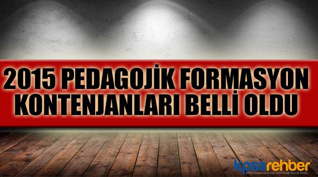 2015 Pedagojik Formasyon Kontenjanları Belli Oldu
