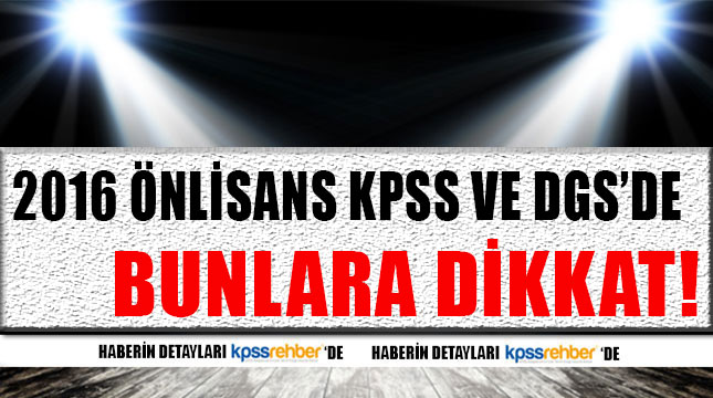 2016 Önlisans KPSS ve DGS