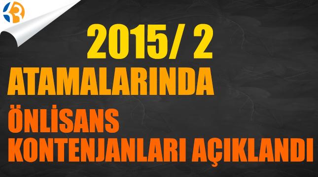 2015/2 Önlisans Kontenjanları Açıklandı
