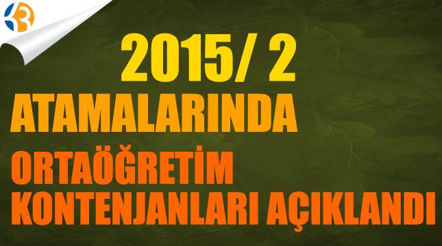 2015/2 Ortaöğretim Kontenjanları Açıklandı