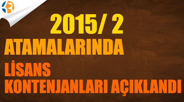 2015/2 Lisans Kontenjanları Açıklandı